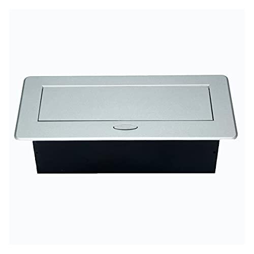 Persdico Mesa de enchufes de escritorio 3 Enchufe de la UE Tapa de aleación de aluminio emergente lenta Enchufe de escritorio para sala de reuniones multimedia