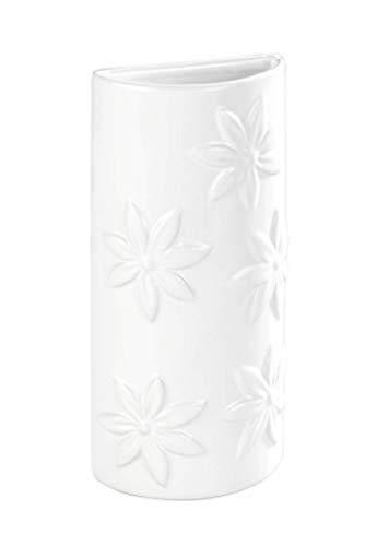WENKO Saturateur avec motif Fleurs - Humidificateur de locaux avec décoration florale pour le radiateur, Céramique, 9 x 19 x 4 cm, Blanc