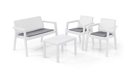 Keter Emily Lounge Set, Mobili da Giardino Superficie Liscia con Divano 2 Posti 2 Sedie e Tavolino, Bianco