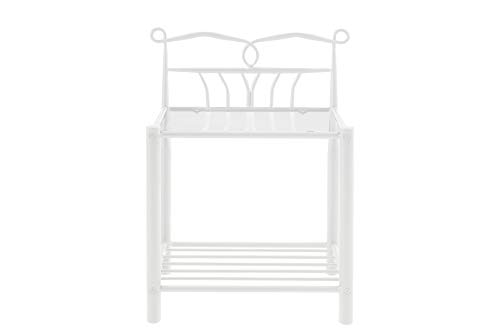 AC Design Furniture Kenneth Bedside Table, Metal, White, 66 x 50 x 37 cm