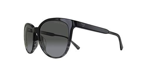 Emporio Armani EA4101F-556611-56, Occhiali da sole Donna, Nero (Black/Transparent Striped Grey) 56.0