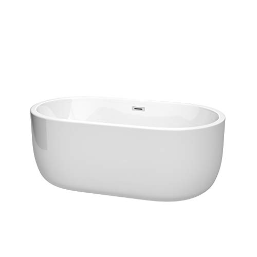 Wyndham Collection Juliette 60 inch Freestanding Bathtub in White with Polished Chrome Drain and Overflow Trim