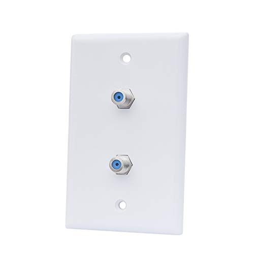 Dual Coax Cable TV Wall Plate - Double Coaxial F Connector Cover Plate in White for Cable TV & Satellite(1-Pack)