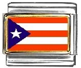 Clearly Charming Puerto Rico Flag Italian Charm Bracelet Link