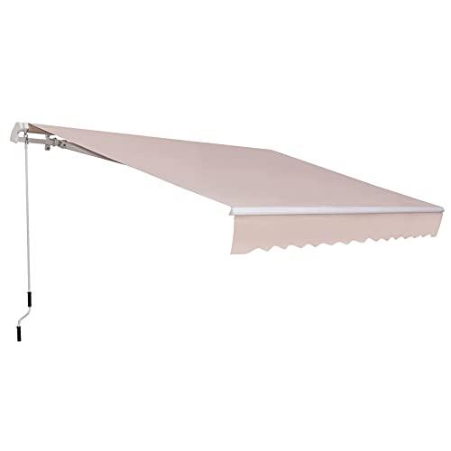 Outsunny Tenda da Sole per Esterno a Bracci 3.5x2.5m, Regolazione con Manovella, Metallo e Poliestere Beige