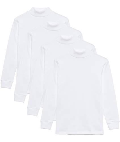 Camiseta termica Interior niño Cuello Medio Alto Semi Cisne niño Manga Larga Colores Lisos (Pack Blanco, 4 años)