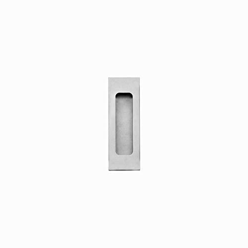 INTERSTEEL - Schiebetürmuschel blind eckig gebürsteter Edelstahl - Muschelgriff für Schiebetüren, Innnetüren und Wandschränke - 120 x 40 mm