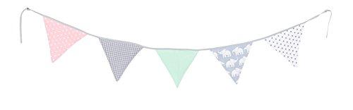 Guirnalda de banderines de ULLENBOOM  con elefantes menta rosa (guirnalda de tela: 1,90 m; 5 banderines; decoración para la habitación de los niños; fiestas de bienvenida para bebés)