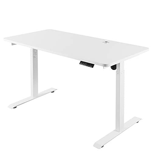 Fitifito elektrisch höhenverstellbarer Schreibtisch Tischgestell mit TÜV RoHS Siegel, Memory, Anti-Kollisionssystem, Kabeldurchführung, Kabelkannal, Weiß (mit Tischplatte 160x70 cm)