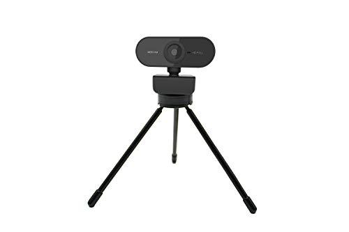 Webcam 1080P com microfone WebCam de Streaming para Desktop sem drive, em Full HD, Câmera de computador USB Plug and Play com foco automático rotativo de 360º para laptop/PC/Mac + Tripé