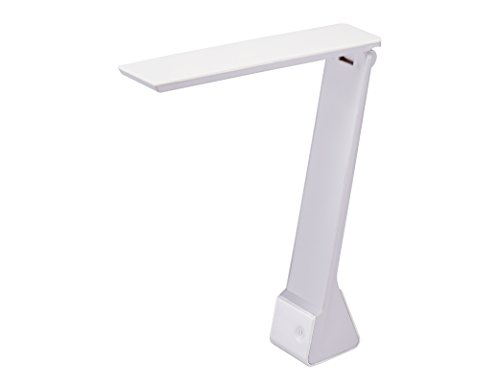 Bostitch Office KT-VLED1810-WHITE Rechargable Battery LED Desk Lamp, 3 Color Temperatures, Flip Open, White