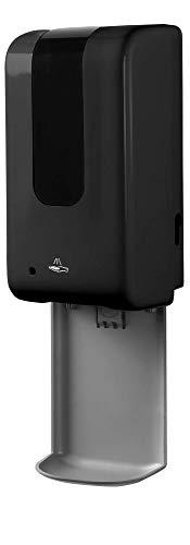 DermSource Automatic Hand Sanitizer & Soap Dispenser   Sanitizing Station   Handsfree, Touchless Auto Sensor   Refillable 1200ml Bottle   (Wall Mount, Black)
