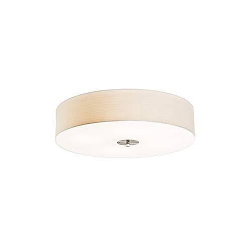 QAZQA Landhaus/Vintage/Rustikal/Modern Ländliche Deckenleuchte/Deckenlampe/Lampe/Leuchte Creme 50 cm - Drum mit Schirm Jute/ 4-flammig/Innenbeleuchtung/Wohnzimmerlampe/Schlafzimmer /