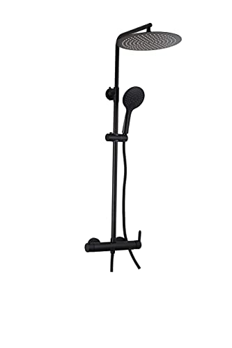 VALAZ Barra de ducha negra redonda monomando con rociador de 25cm Serie Turia