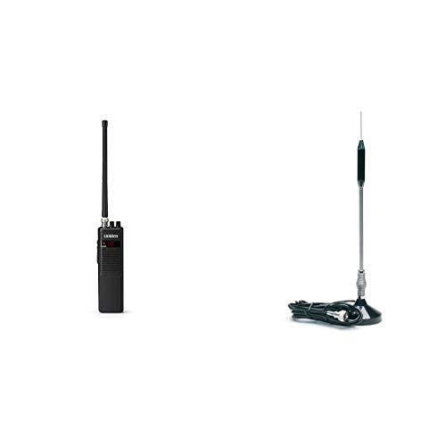 "Uniden PRO401HH Professional Series 40 Channel Handheld CB Radio & RoadPro (RP-711) 24"" Magnet Mount Stainless Steel CB Antenna Kit"