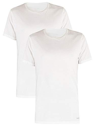 Calvin Klein Heren Katoenen T-shirts met 2 pakken, Wit