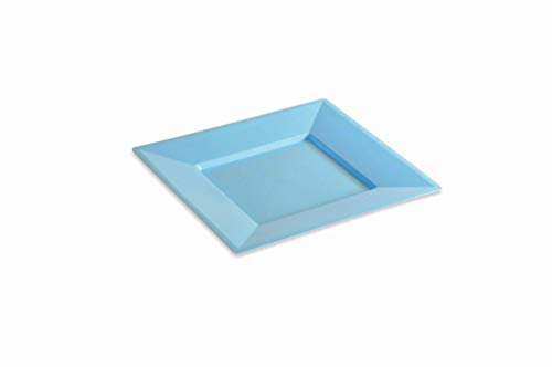 12 Assiettes carrée Plastique réutilisable 24 cm Couleur Ciel
