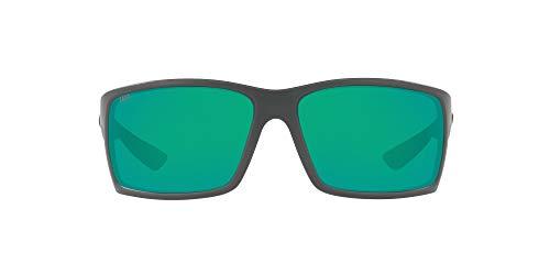 Costa Del Mar Men's Reefton Polarized Rectangular Sunglasses, Matte Grey/Copper Green Mirrored Polarized-580P, 64 mm