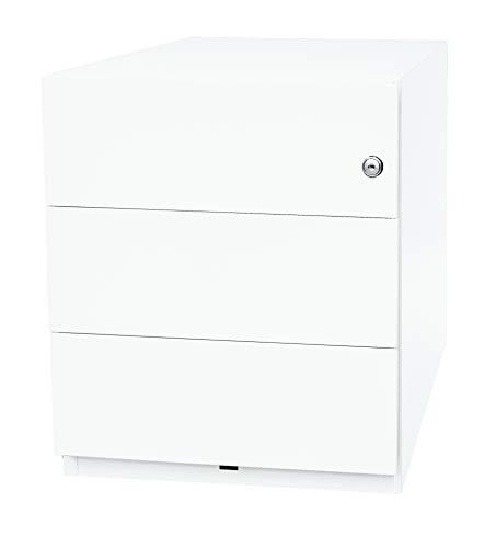 BISLEY Rollcontainer mit 3 Schüben in Verkehrs weiß | Bürocontainer aus Metall abschließbar | Tischcontainer mit Rollen
