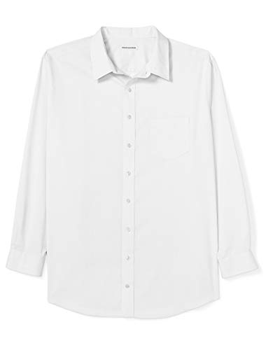 Amazon Essentials Men's Big & Tall Wrinkle-Resistant Long-Sleeve Solid Dress Shirt, White, 20