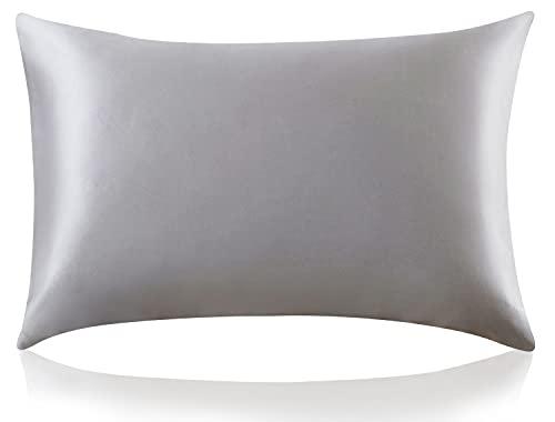 ZIMASILK Funda de Almohada de Seda de Morera 100% para el Cabello y la Piel, Ambos Lados de Seda de Momme 19, 1pc (Estándar 50x75 cm,Gris Oscuro