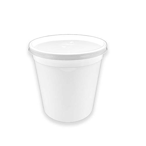 TELEVASO - 50 uds - Envase Recipiente Redondo para Comida + Tapa separada - Capacidad 1000 ml y tamaño Ø120 mm - Polipropileno (PP) Blanco - Contenedores Desechables Apto para microondas