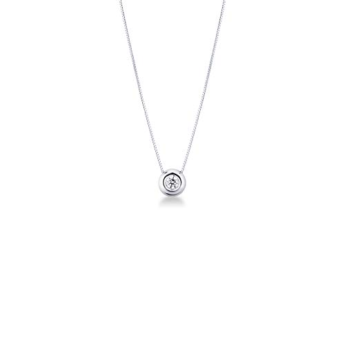 Gioielli di Valenza - Collana Punto Luce in Oro Bianco 18k con Diamante 0,20 carati - PU01020BB