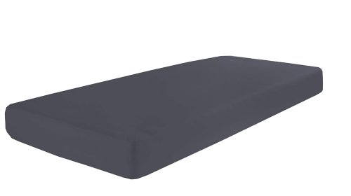 Dormisette, Q371, elastisch jersey-hoeslaken met elastaan, afmetingen 90 x 190-100 x 200-220 cm, donkergrijs