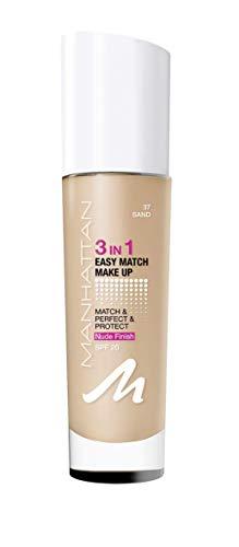 Manhattan 3in1 Easy Match Make Up, ölfreie Foundation für einen makellosen Teint, Farbe 037 sand, 30ml