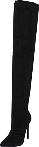 Liliana DB54 Women Suede Pointy Toe Thigh High Single Sole Stiletto Boot,Black,10