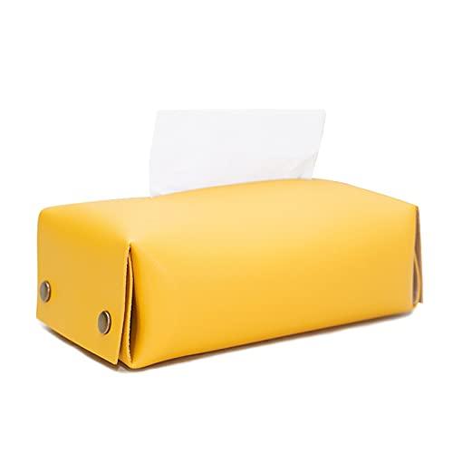 Mecmbj Caja de Cuero para Toallas, Caja De Almacenamiento Impermeable De Cuero PU, Servilletero para Pañuelos Faciales, Cajón Adecuado para Automóvil, Oficina, Baño (Tamaño: 20 * 11 * 7 cm)