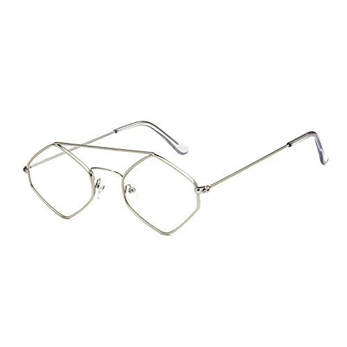 Gafas De Sol Nuevas Gafas De Sol De Ojo De Gato para Mujer, Lentes Antirreflectantes Poligonales, Gafas De Sol para Hombre, Gafas De Sol Vintage, Montura Metálica Plateada-Transparente