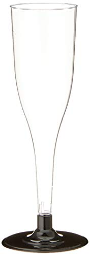 Papstar Plastik Sektglas / Stiel-Glas 0.1 l (20 Stück) glasklar, mit schwarzem Fuß, aus stabilem...