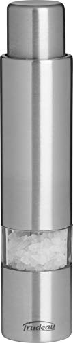 """Trudeau Stainless Steel 6 inch One-Hand Thumb Mill Salt Grinder, 6"""", Silver"""