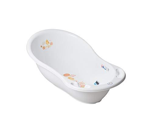 Tega Baby ® ergonomische Baby-badewanne 86cm mit integriertem Thermometer - Stöpsel zum Wasserablassen Ablaufstöpsel sicheres Baden Babybadewannen | 0-12 Monate, Motiv:Folk - weiß