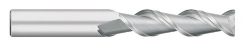 Titan TC65208 Solid Carbide End Mill for Aluminum, Long Length, 2 Flute, Corner Radius, 45 degree Angle Helix, Uncoated, 1/8' Cutting Diameter, 2-1/4' Overall Length 3/4' Length of Cut, 0.020' Corner Radius