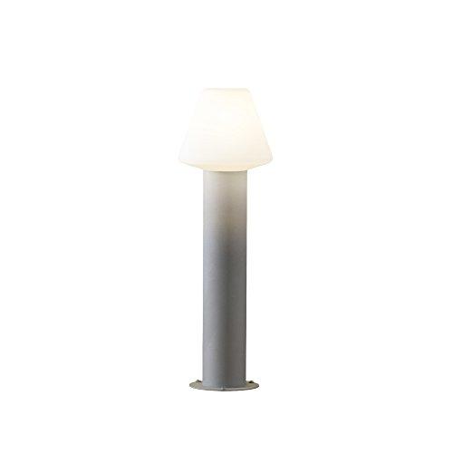 Außenlampe aus Aluminium Lampenschirm Standleuchte Wegeleuchte (Wegbeleuchtung, Außenleuchte, Gartenlampe, Pfostenleuchte, Sockelleuchte, Zaun-Beleuchtung, Höhe 60 cm, Grau)