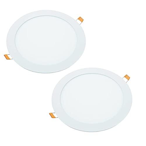 JANDEI - 2x Downlight LED 18W Redondo Plano De Empotrar, Aluminio Aro...