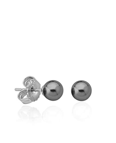 Majorica, Pendientes Lyra, perla gris 8mm, Plata 1a Ley
