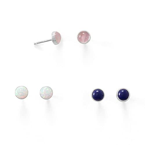 Juego de 3 botones de plata de ley 925 de imitación de ópalo blanco lapislázuli y cuarzo rosa de 3 4,4 mm de piedra St Jewelry regalos para mujeres