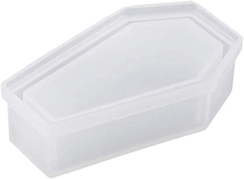 POFET Molde de silicona para caja de almacenamiento, molde de silicona para ataúd, molde de almacenamiento de joyas, para manualidades, Halloween, herramienta de bricolaje