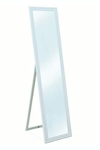 Galileo Casa specchiera da Terra 40x160 Bianca, Legno, Misure Specchio: l. 30 x h. 150 cm