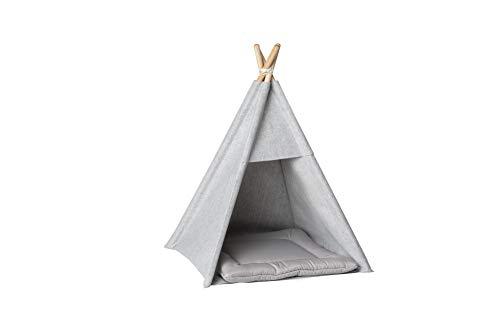 Hundezelt, Katzenzelt, Haustierbett, Spielhaus für Katzen und Hunde, Tipi-Zelt mit Kopfkissen (M, grau)
