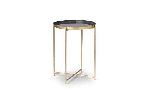 LIFA LIVING Runder Couchtisch aus Metall in Gold und Grau, Vintage Beistelltisch stabil, Kaffeetisch im Modernem Design, 37.5 x 37.5 x 47.5 cm