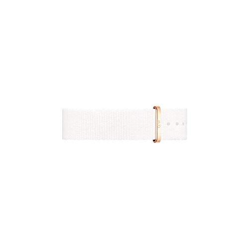 Daniel Wellington Clasissic Dover Cinturino Unisex Adulto, 18mm, in NATO, Bianco/Oro Rosato