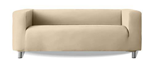Sofabezug Modell Klippan Sofa Arme hoch weiches elastisches Stoff New York - Farbe 01 Elfenbein