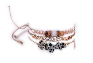 Pulsera mujer Brazalete cordón cuentas brillantes Piedras preciosas Bisutería dorada Joya Boho - Conjunto 3 piezas - Marrón