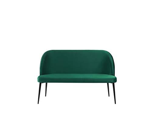 Beliani Modernes 2-Sitzer Küchensofa Samtstoff dunkelgrün Metallbeine schwarz Osby