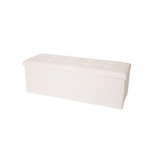 Rebecca Mobili Puff Contenitore Bianco, Baule Ecopelle, Pieghevole, con Coperchio - Misure 38 x 110 x 38 cm (HxLxP) - Art. RE4907