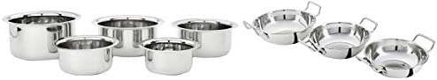 Amazon Brand - Solimo Stainless Steel Tope Set (5 pieces, Induction and Gas compatible)